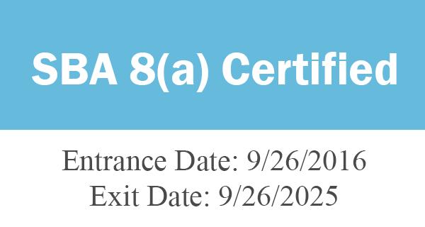 SBA 8a-certified: 9/26/2016 - 9/26/2025